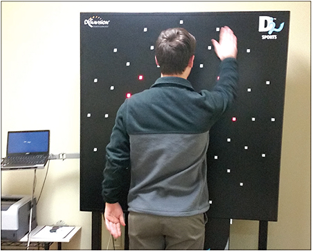 Raised targets on DynaVision D2 give athletes tactile feedback when they depress each target.