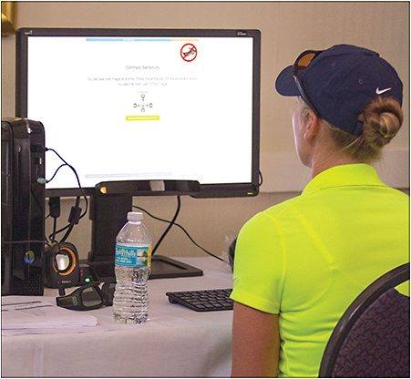 An athlete is instructed on contrast sensitivity on RightEye Performance Vision Tests.