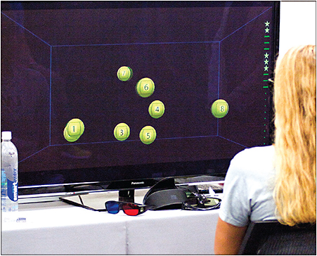 An athlete tracks three of eight objects on NeuroTracker.