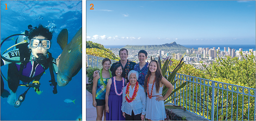 1: Dr. Liu exploring the deep. 2: Dr. Aller and family in Hawaii.