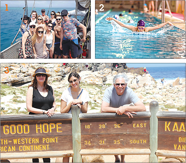 "1: Dr. Gifford, Paul and practice staff on a ""work family"" holiday to Cairns, Australia. 2: Dr. Liu doing laps. 3: Coopers at Cape of Good Hope in South Africa."
