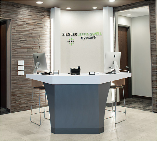Conceirge-style desk at Ziegler & Leffingwell Eyecare.