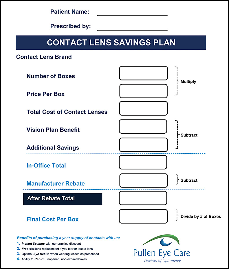 Dr. O'Connor's office utilizes this customized print out illustrating contact lens savings.