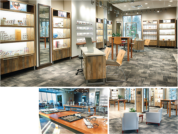 Clutter-free optical showroom. Dr. Ziegler recommends this as a best practice for managing frame boards. Here, you see the optical floor at Ziegler Leffingwell Eyecare. All photos courtesy of Babboni Photography and Ziegler Leffingwell Eyecare
