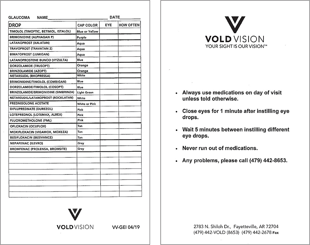 Vold Vision's personalized treatment index cards have facilitated drop use.