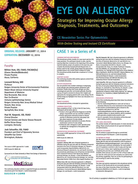 Supplement-Strategies for Improving Ocular Allergy Diagnosis